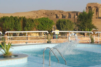 Sample pool on a Nile ship with view of Kom Ombo